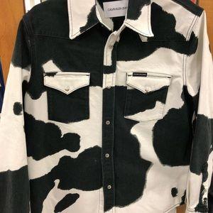 Calvin Klein Cow print denim button up shirt